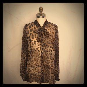 Dolce & Gabbana chiffon leopard pussy bow blouse
